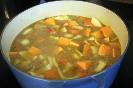 Bring veggies to a boil