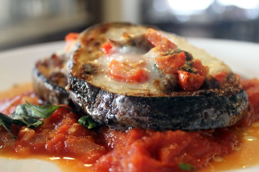 Bruscetta over eggplant parm