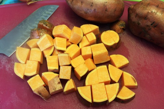 Make chunks of sweet potatoes
