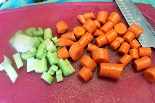 Make large chunks of celery and carrot