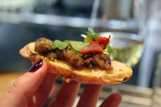 Toast with eggplant puree