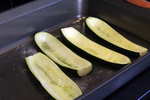 Slightly roasted zucchini